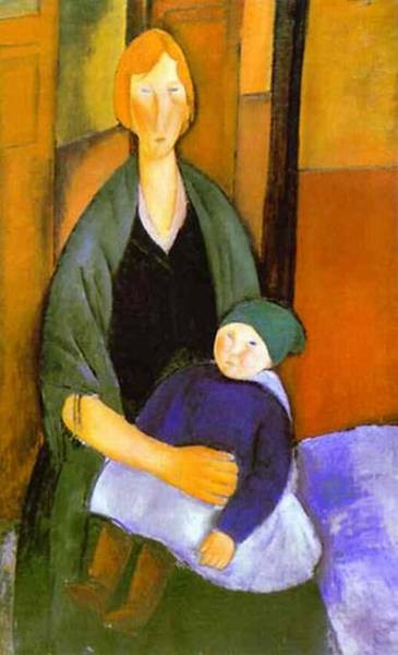 seated woman with child 1919 XX musee dart moderne villeneuve dascq france